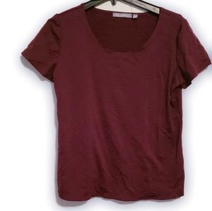 NY Collection Size Large Burgundy Short Sleeve top